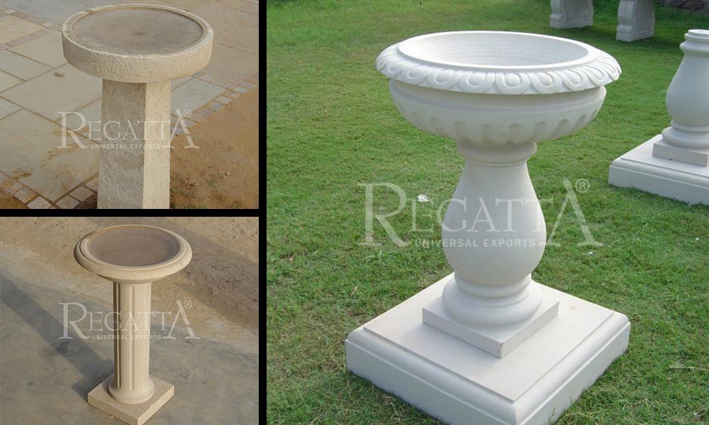Bird baths stone articles in garden