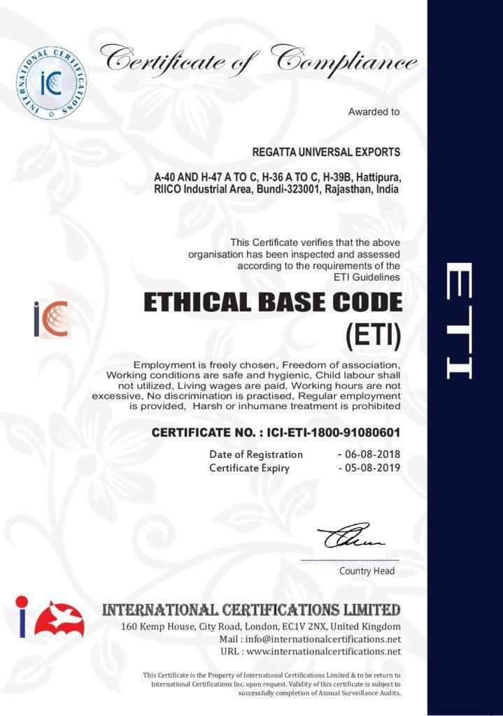 ETI Certificate