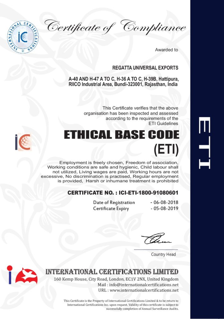 ethical sourcing certificate