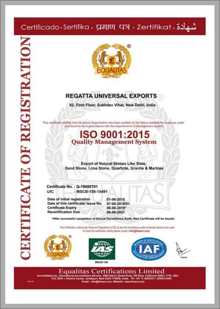 Regatta ISO Certificate