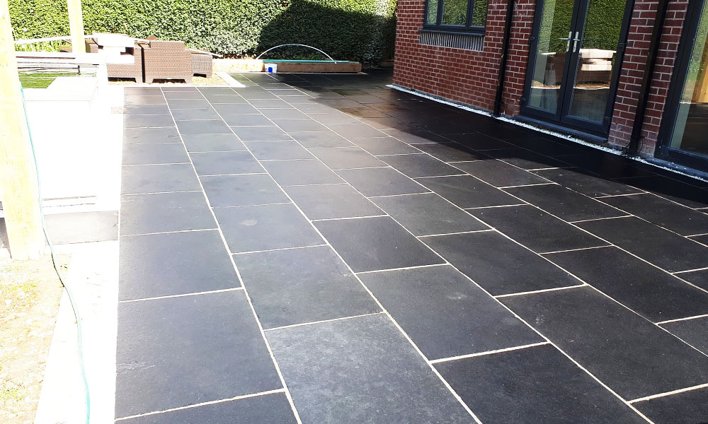 Lime black limestone installation