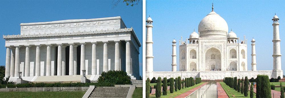 Lincoln Memorial and Taj Mahal image
