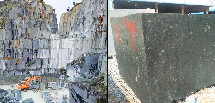 Green marble quarry offering block