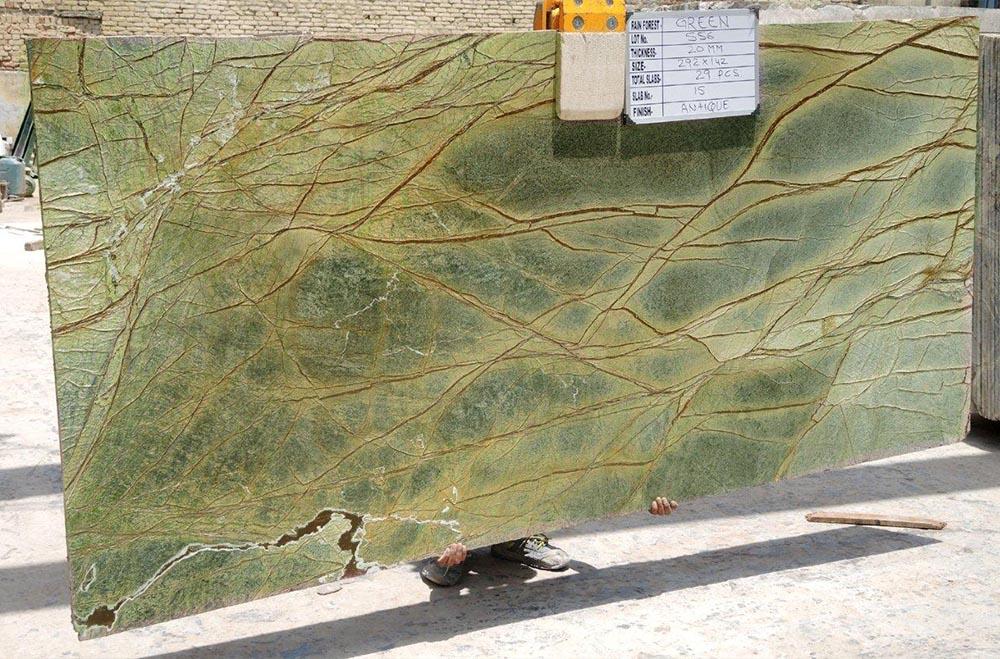 Green marble gangsaw slab