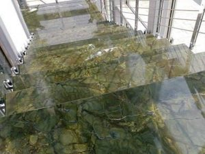 Stairs made of green marble