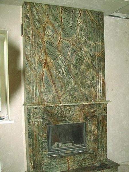 Rainforest green marble for fireplaces