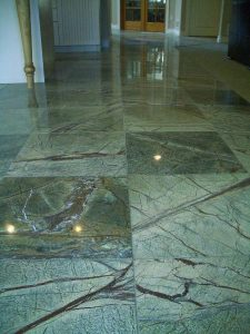 Marble floor in a green hue