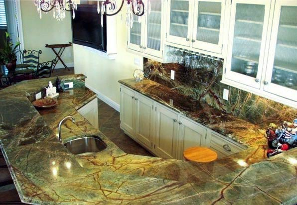 Kitchen countertop in green marble