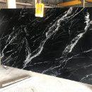 Black marine marble slab
