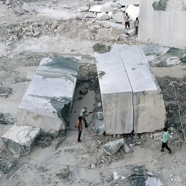 Green marble blocks at marble quarry in India