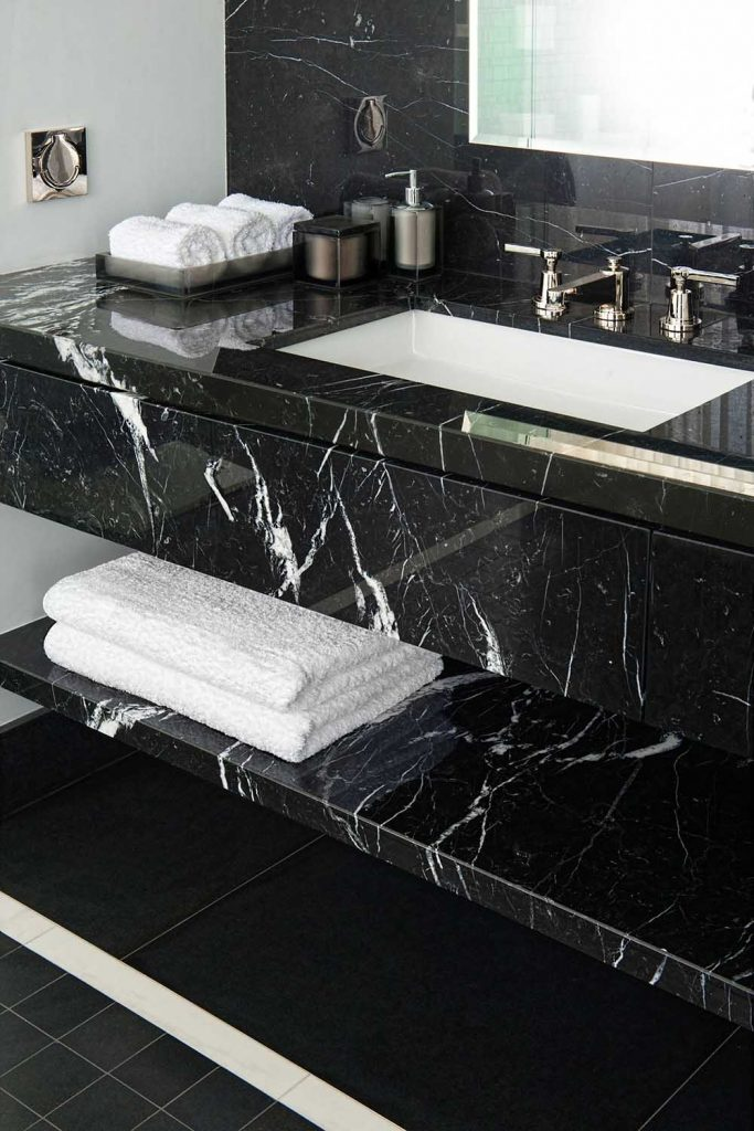 black-marble-bathroom vanitytop