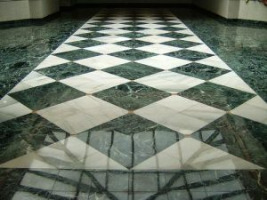 Green and white marble tiles