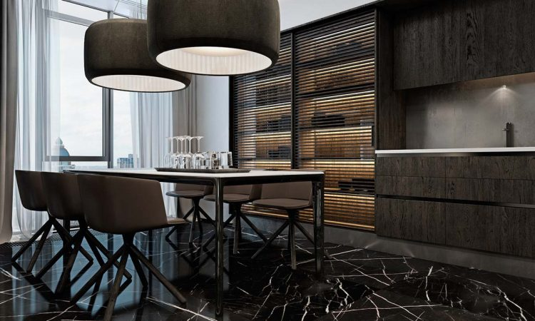 black-marble-tiles- in-kitchen