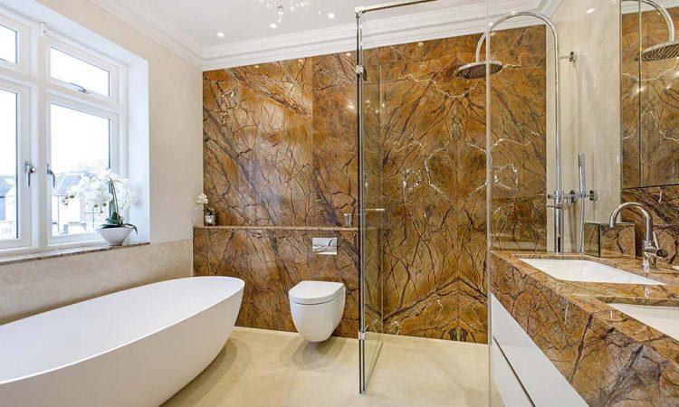 stone wall bathroom