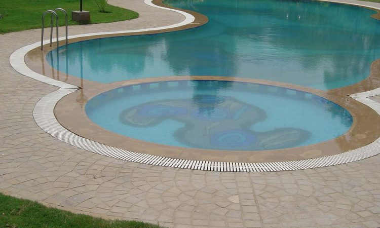 Autumn Brown cobbles pool surround