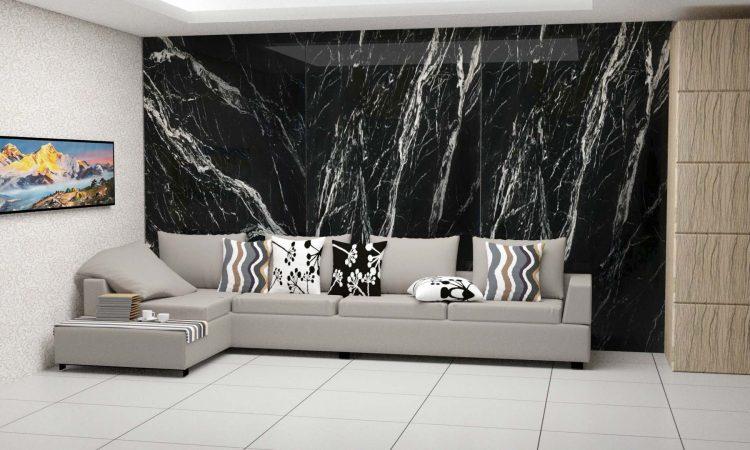 Marine black marble stone product