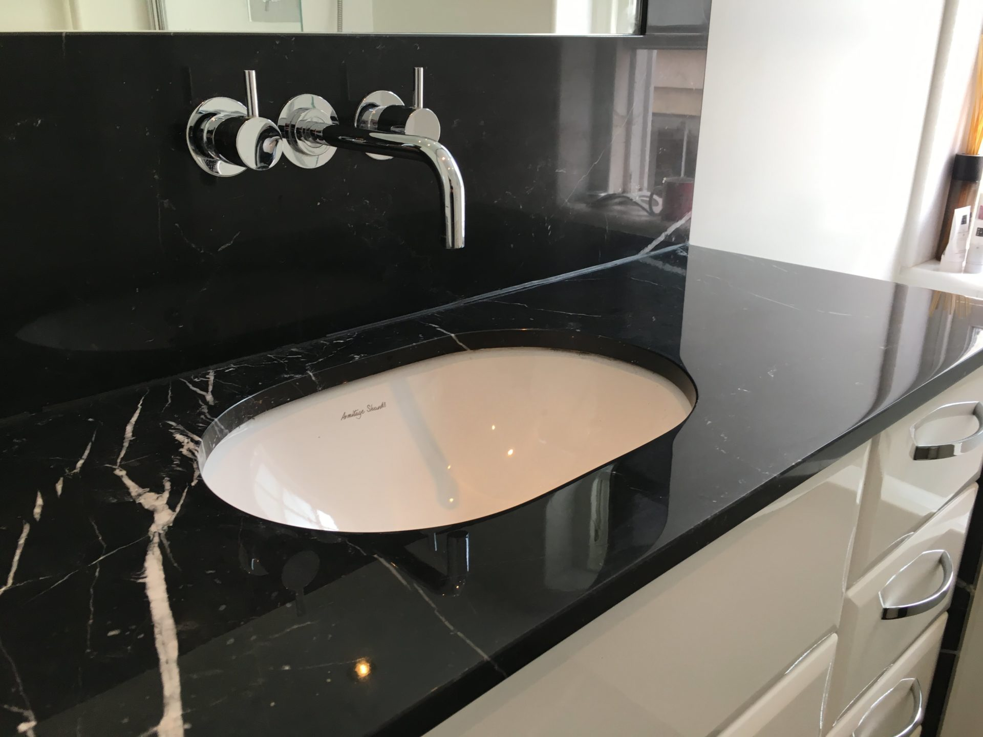 Marine Black Marble with a Superb Surface and Appearance