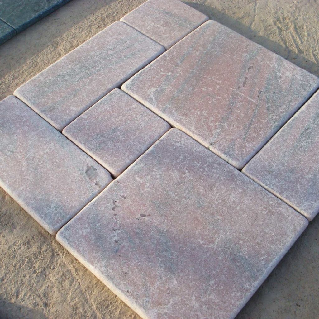 Pink marble tiles with honed finish