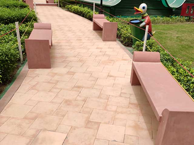 Agra red sandstone bench project